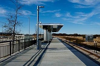 DFW Airport North station - Image: TEX Rail DFW North 2018 1