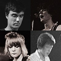 Talking Heads in the late 1970s; clockwise from top left: David Byrne, Jerry Harrison, Chris Frantz, and Tina Weymouth