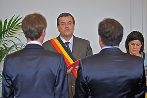 Same-sex marriage - Mayor of Liège, Willy Demeyer, officiating at the wedding of a gay couple