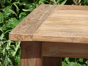 English: Close of a teak table made of old Ind...