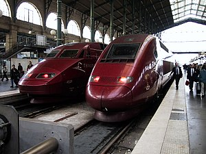Transport in Paris - Thalys trains with service to Belgium, the Netherlands and Germany in the Gare du Nord station