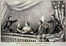 From left to right: Henry Rathbone, Clara Harris, Mary Todd Lincoln, Abraham Lincoln, and John Wilkes Booth