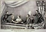 Assassinat d'Abraham Lincoln - Gravure de Currier and Ives (1865). De gauche à droite: Henry Rathbone, Clara Harris, Mary Todd Lincoln, Abraham Lincoln et John Wilkes Booth.