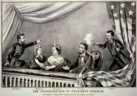 A black-and-white drawing of five people, two women and three men, the rightmost of which is shooting a gun at the man sitting next to him