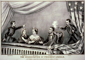 Lithograph of the Assassination of Abraham Lin...
