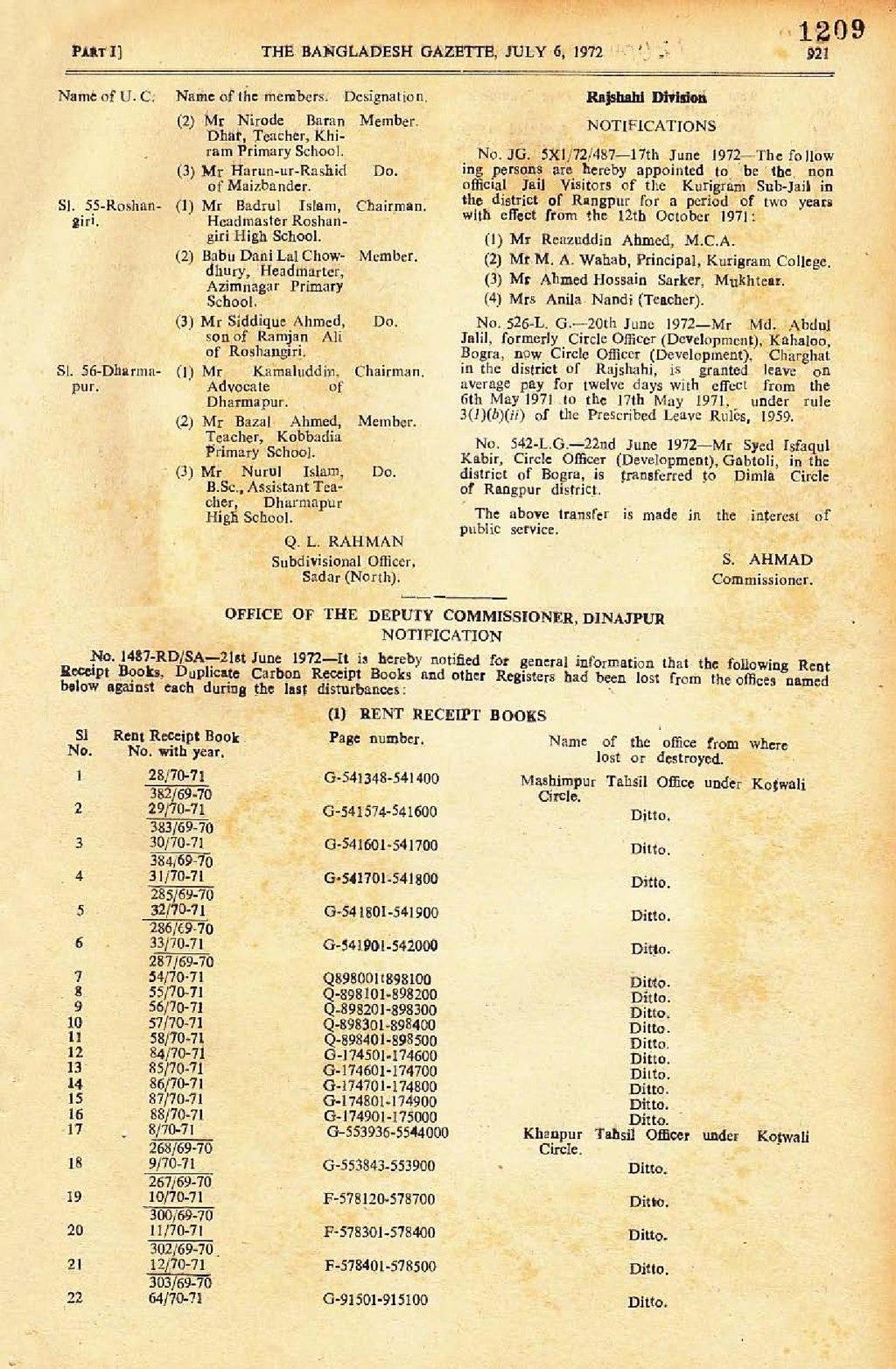 Page:The Bangladesh Gazette, July 6, 1972 pdf/33 - Wikisource, the