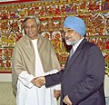 The Chief Minister of Orissa, Shri Navin Patnaik meeting with the Deputy Chairman, Planning Commission Dr. Montek Singh Ahluwalia to finalize annual plan 2005-06 of the State in New Delhi on February 16, 2005.jpg