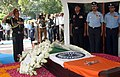 The Chief of Army Staff, General Bipin Rawat paying homage to Marshal of the Indian Air Force Arjan Singh, at Brar Square crematorium, in New Delhi on September 18, 2017.jpg