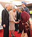 The Emperor of Japan, His Majesty Akihito and the Empress of Japan, Her Majesty Michiko being received by the Prime Minister, Dr. Manmohan Singh and his wife Smt. Gursharan Kaur, on their arrival, at Air Force Station, Palam (1).jpg