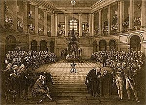 Parliament of Ireland - The House of Commons in session (by Henry Barraud, John Hayter)