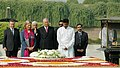 The King Albert II and Queen Paola of Belgium paying homage at the Samadhi of Mahatma Gandhi at Rajghat, in Delhi on November 04, 2008.jpg