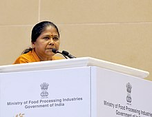 The Minister of State for Food Processing Industries, Sadhvi Niranjan Jyoti addressing at the concluding ceremony of the World Food India-2017, organised by the Ministry of Food Processing Industries, in New Delhi.jpg