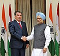 The Prime Minister, Dr. Manmohan Singh meeting the President of the Republic of Tajikistan, Mr. Emomali Rahmon, in New Delhi on September 03, 2012.jpg