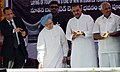 The Prime Minister, Dr. Manmohan Singh pressing the button to lay the foundation stone for the new Integrated Terminal, at Tirupati Airport, in Andhra Pradesh on September 01, 2010.jpg