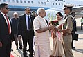The Prime Minister, Shri Narendra Modi being welcomed, on his arrival, at Sardar Vallabhbhai Patel International Airport, in Ahmedabad, Gujarat on December 10, 2016.jpg