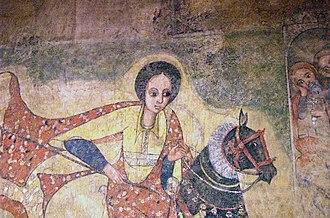 Ethiopian art - A 17th-century Gondarene-style Ethiopian painting depicting Saint Mercurius, originally from Lalibela, now housed in the National Museum of Ethiopia in Addis Ababa