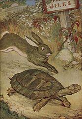 La liebre y la tortuga, ilustrado por Milo Winter en una antología de Esopo de 1919.