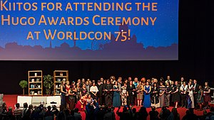 75th World Science Fiction Convention - Winners, presenters and other participants in the awards ceremony.