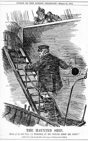 """Eine Karikatur aus der britischen Zeitschrift The Punch von John Bernard Partridge, die den Geist von Otto von Bismarck und Kaiser Wilhelm II. zeigt. Sie ist eine Referenz auf die bekannte Karikatur Dropping the Pilot (Der Lotse geht von Bord) von John Teniel. Übersetzung der Bildunterschrift: Das Spuk-Schiff. Geist des alten Lotsen: """"Ich frage mich, ob er mich jetzt auch fallenlassen würde!"""" [Der 1. April ist das hunderste Jubiläum von Bismarcks Geburtstag]"""