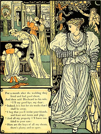Bluebeard - The Wife goes toward the Forbidden Room. Illustration by Walter Crane