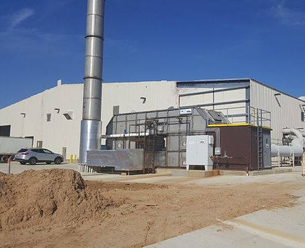 Air pollution control system, known as a Thermal oxidizer, decomposes hazard gases from industrial air streams at a factory in the United States of America. Thermal-oxidizer-rto.jpg