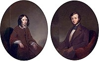 Thomas B. Read (American, 1822-1872) - Portraits of Elizabeth Barrett Browning and Robert Browning