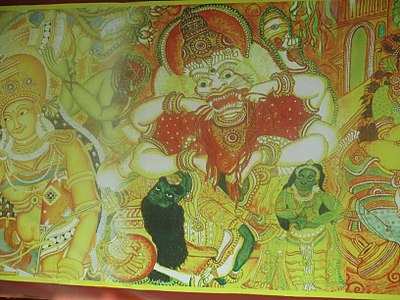 Painting on the walls of the temple Thrickodithanam 1.JPG