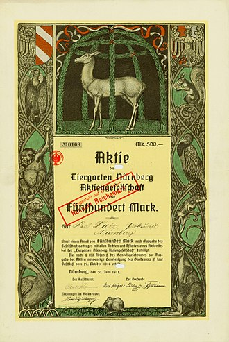 Nuremberg Zoo - Founder's share of the Tiergarten Nürnberg AG, issued 30. June 1911