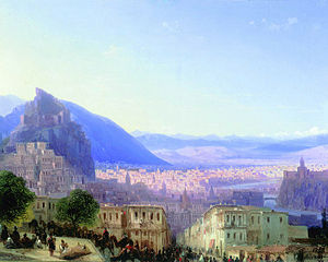 Old Tbilisi - View of Old Tbilisi in 1868, by Ivan Aivazovsky.