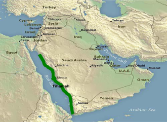 Tihamah - A map of Tihamah region of the western Arabian Peninsula in green