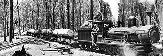 Manjimup, Western Australia - A timber train in the 1940s