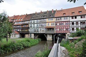 Timber framing wikipedia krmerbrcke in erfurt germany with half timbered buildings dating from c 1480 fandeluxe Images