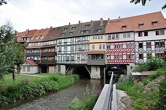 Timber framing - Krämerbrücke in Erfurt, Germany, with half-timbered buildings dating from c. 1480