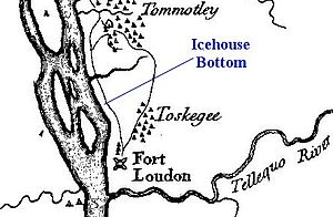 Icehouse Bottom - Modern indication of Icehouse Bottom using part of Henry Timberlake's 1765 map of the valley