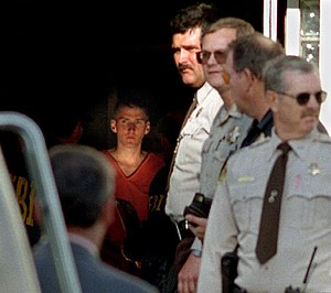 Timothy McVeigh - McVeigh about to be led out of a Perry, Oklahoma, courthouse two days after the Oklahoma City bombing