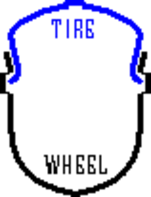 Tire bead - A tire bead is held in the groove by air pressure.