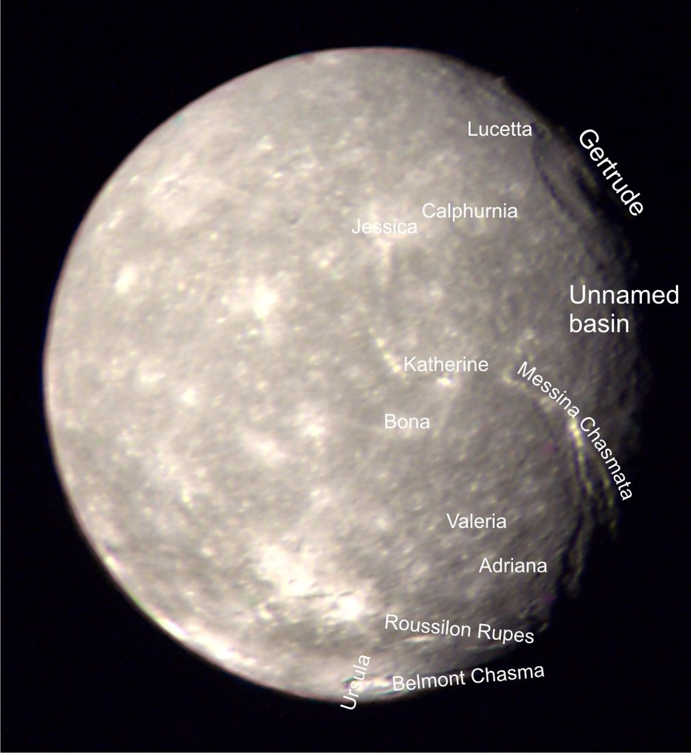 Titania (moon) labeled
