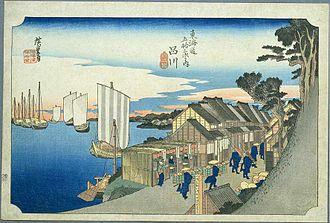 Shinagawa-juku - Shinagawa-juku in the 1830s, as depicted by Hiroshige in The Fifty-three Stations of the Tōkaidō