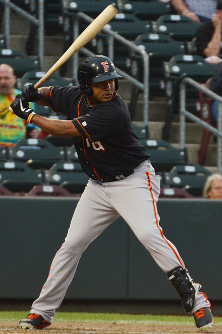 Abreu batting for the Fresno Grizzlies, triple-A affiliates of the Giants, in 2013 Tony Abreu on August 15, 2013.jpg