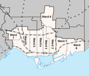 Toronto municipal election, January 1936 - Ward boundaries used in the 1936 election