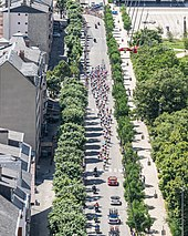 An aerial view of the a large group of riders strung out along a tree-lined city boulevard