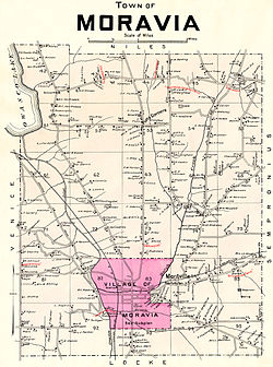 Town of Moravia, NY with the village of Moravia highlighted, 1904