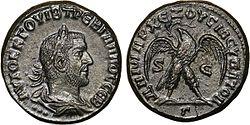 מטבע עם דיקנו של טרבוניאנוס גאלוס