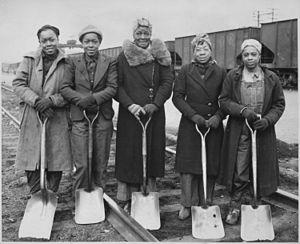 Platelayer - Trackwomen, 1943. Baltimore & Ohio Railroad Company
