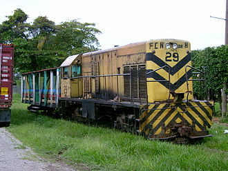 The city rail in La Ceiba, Honduras is one of the few remaining passenger train services in Central America Train LaCeiba1.JPG
