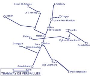 Trams in Versailles - Image: Tramway de Versailles plan