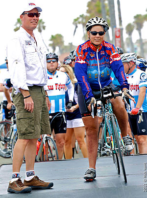 Race Across America - Seana Hogan being honored at the 2011 Race Across America. Pictured left is current race director George Thomas