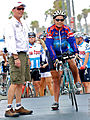 Transcontinental record holder Seana Hogan with current RAAM George Thomas.jpg