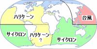 各海域の热帯低気圧の名称図