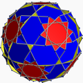 Truncated dodecadodecahedron with blue square and red decagram.png